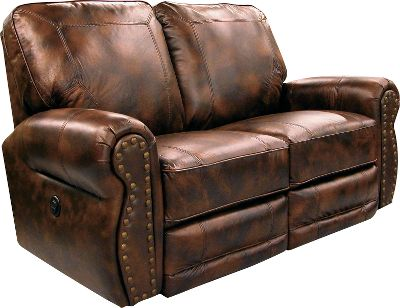 Entertainment Traditional-style, genuine Briswell Leather Love Seat with integrated recliners for kickback relaxation. Stressed-leather look adds to the traditional appeal, and the square back is banded and accented with cording. Contoured and smooth rolling armrests sport brass tacks on the face cap. Made in USA.38-1/2H x 62-1/2W x 36-1/2D. - $899.99