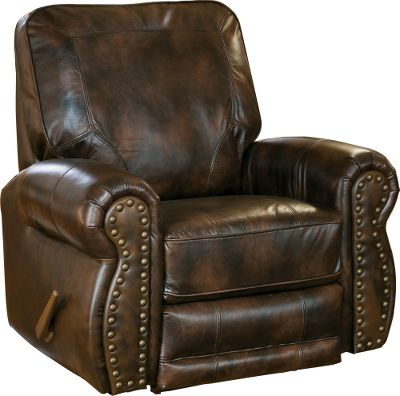 Entertainment Traditional-style, genuine Briswell Leather Recliner for kick-back relaxation. Stressed-leather look adds to the traditional appeal and the square back is banded and accented with cording. Contoured and smooth rolling armrests sport brass tacks on the face cap. Made in USA.39-1/2H x 39W x 36-1/2D. - $499.99
