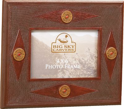 Hunting Frame that trophy shot in this resin picture frame from Big Sky Carvers. Frame boasts the same texture as shotgun-shell casings and is accented with unmistakable 12-ga.-shell rims.Dimensions: 9L x 7W. Type: Picture Frames. - $19.99