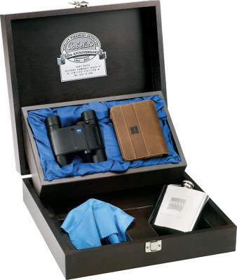 Hunting Proudly displayed in a hinged, two-tray hardwood presentation box, the special-edition Victory Compact binoculars sport an optical system with dielectric layers of glass on the prisms for crystal-clear image quality. The box, along with a distressed leather padded carry case, boast the commemorative Cabelas 50th Anniversary logo. Theyre nitrogen-filled to eliminate fogging. The asymmetrical articulated joint saves space when folded up. Lockable push-pull eyecups give eyeglass wearers a full field of view. Tough rubberized housing absorbs shock and noise. Convenient center focus. 100% waterproof. Commemorative kit also includes a laser-engraved, 6-oz. stainless steel flask. Only 500 of these special-edition binoculars will be made. - $399.88