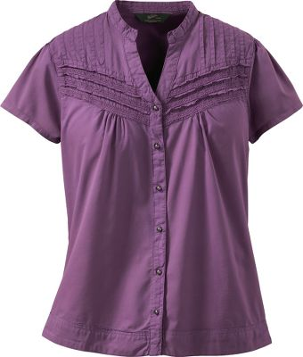 Entertainment Woolrichs feminine Belle Springs shirt is a stylish and comfortable addition to any wardrobe. Lace appliques and front and back gathering offers a charming touch. Machine washable. 100% cotton. Imported.Center back length: 26.Sizes: S-2XL.Color: Crocus. - $49.00