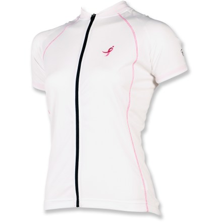 Fitness The moisture-wicking Canari Foundation short-sleeve bike jersey helps keep you cool on warm weather rides while also showing your support for breast cancer research. - $11.73