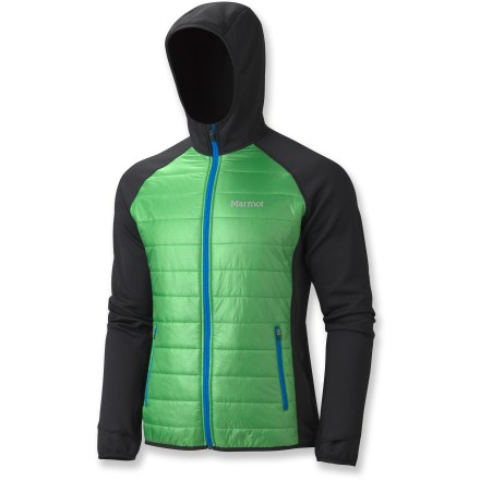 Climbing The Marmot Variant Hoodie jacket features synthetic insulation and flexible fabric for climbing excursions, ski trips or other cold-weather adventures where mobility is key. Thermal R(TM) synthetic insulation in the front panels provides warmth; Polartec(R) Power Stretch(TM) in the sides, back and arms provides breathable mobility. Synthetic insulation offers warmth, low bulk, excellent packability and continues to insulate even if wet. Full-length front zipper; soft collar lining and chin guard. Lightweight stretch binding at cuffs and bottom hem; thumbholes hold sleeves in place over hands. Attached hood ensures complete coverage and adds extra insulation. Marmot Variant features zippered hand pockets. Athletic, close-fitting cut aids warmth without inhibiting movement. Closeout. - $119.73