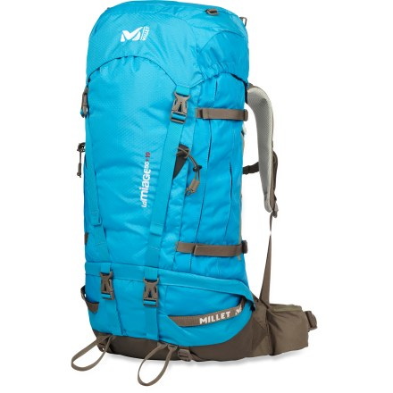 Camp and Hike The Millet Miage A.F. 50 + 10 LD pack for women combines a technical alpine profile with carrying comfort, classic trekking functionality and well-built durability. Designed specifically to fit a woman, wraparound shoulder straps with 3D mesh, ergonomic hipbelt and adjustable Freeflex(TM) contact back system offer excellent comfort. Dual zippered main compartment, access to pack base, bellowed side pockets, hipbelt pocket and zippered lid pockets allow organization and easy access to gear. Hydration-compatible design features reservoir pocket and drink tube exit port for on-the-go hydration (reservoir sold separately). Removable top lid sits atop an expandable section that offers increased load capacity. Ice-axe loops and ski holders let you lash gear to the outside of the pack body. Side compression straps secure both large and small loads for increased stability; built-in raincover helps protect your pack and its contents from wet weather. The Millet Miage A.F. 50 + 10 LD pack is made with durable fabric, rugged stitching and reinforced base and contact points that resist abrasion and tearing. - $129.93