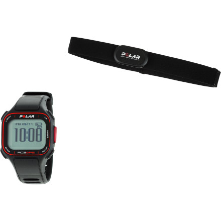 Camp and Hike The Polar RC3 GPS Heart Rate Monitor tracks, measures, and records everything that serious runners and cyclists need for analyzing and ultimately improving their training and performance, all in a sleek, lightweight, wrist-watch-style design. The integrated GPS tracks your route, distance, and speed while the heart rate monitor and OwnCal feature measure how your body is performing. Plus, the RC3 is compatible with your Mac or PC so you can share your training sessions with all of your friends. Heart rate monitor tracks minimum, maximum, and average heart rate while training  Polar OwnCal tracks calorie expenditure with fat percentage  Integrated GPS provides route mapping, running index, speed/pace, and distance Integrated watch provides time and day, alarm and snooze, backlight, dual time zones, and a Keylock that prevents you from accidentally pushing buttons CS cadence sensor measures your revolutions per minute while cycling or how many times your right or left foot hits the ground per minute while running, helping you optimize the balance between leg power and speed Cs Speed sensor tracks current, average, and maximum speed  Cs Speed sensor also measures distance and can be set to autostart/autostop when you start or stop running/pedaling RC3 is compatible with Mac or PC and with polarpersonaltrainer.com for sharing and analyzing your workouts Recording features save training data from the last reset so you can assess your long-term training Stride sensor measures the length of your stride so you can correct mistakes and optimize your stride for increased performance  Rechargeable battery provides 12 hours of continuous use with GPS on IPX7 water resistance protects from rain and splashes(not suitable for swimming or bathing) - $329.95