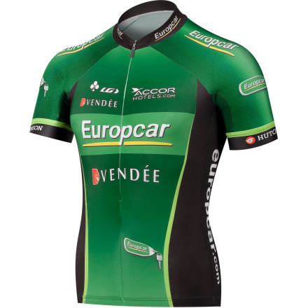 Fitness The same fabrics, the same cut, and the same attention to every last 'pro-only' detail. That's what you get with Louis Garneau's Original Europcar Jersey. While there're many manufacturers out there producing team replica jerseys, few are made to the exact specifications of what actually grace team riders' shoulders. But for those seeking the exact green race jersey notoriously worn by the cagey Frenchman Voeckler and his Europcar teammates, you've found it. Compared to the Replica jersey's single fabric construction, the Original Europcar jersey incorporates four different materials into its design. The first two, Garneau's CB Mondo and CB Speedtech, have been selected for the torso and sleeves for they're extremely lightweights and breathable characteristics. And in addition to these attributes, they also incorporate what's known as Coldblack technology. This is a finishing treatment that reduces the absorption of heat rays in darker fabrics, resulting in both protection from the sun and increased heat management. Garneau pairs the super soft CB Mondo with the ultra-wicking dimpled mesh CB Speedtech fabric in order to create unmatched comfort and aerodynamic qualities. CB Speedtech is a certified compressive fabric with 18% spandex and a 195 g/m2 rating. Basically, this means that it provides you, and Voeckler, with outstanding muscle support and reduced drag compared to standard Lycra blends. Louis Garneau also incorporated its quick-wicking Power mesh fabric side panels the jersey. This fabric's opaque construction provides extreme breathability and smooth, chafe-free comfort. Additionally, Garneau's elastic Laser REV arm cuffs round out the construction, adding durability and additional muscle support to arms. As expected, the Original Europcar jersey's fit is next-to-skin tight. - $169.95