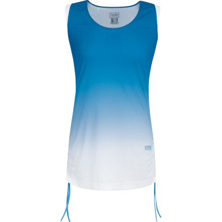 Fitness Turn heads and stay supremely comfortable at the same time when you take our next run in the Gore Running Wear Women's Sunlight 3.0 Fading Singlet. Made with high-tech microfiber that wicks away sweat and dries in a flash, this durable top will keep you dry and cool. Contrast seams, an arresting shoulder-to-hem color fade print, and a funky tattoo-style graphic at the back shoulder blade give you a sporty look that stands out from the me-too tops in your running group. - $68.95