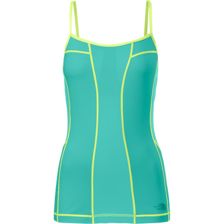 Fitness Follow your breath and move with the flow in The North Face Women's Shavasana Cami, with four-way stretch and enduring beauty. Made from super-soft Supplex and nylon, this top feels luscious next to skin and won't wrinkle, shrink, or fade, so you will look as good as you feel. Strategically placed mesh provides ample ventilation to keep you cool and dry when the moves get intense and things heat up. An internal shelf bra supports and stabilizes as you get twisty and topsy-turvy. - $59.95