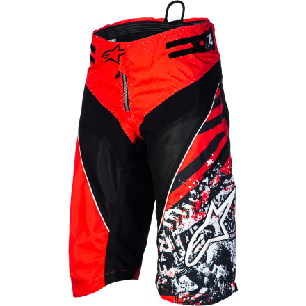 MTB Every aspect of Alpinestars Gravity Shorts is specifically designed to do one thingkeep you comfortable while you hammer down tight, sketchy singletrack. This is easier said than done, but Alpinestars has been in the game long enough to know how to keep you safe (relatively) and comfortable while you throw down on your your bike.Alpinestars built Gravity Shorts with strategically located stretch and vent panels. On the back and in the crotch, spandex panels stretch for an unlimited range of motion. You won't ever feel Gravity shorts bind up while you ride. This also adds to the shorts' durability, because it stretches rather than tears. The synthetic fabric pulls moisture away from your body to keep you dry and comfortable, even in the heat of the summer. Alpinestars also designed Gravity shorts with cooling mesh panels on the thighs that push hot, stale air out and allow fresh, cool air to flow in and around your body. On the back of the shorts, an abrasion-resistant ripstop panel adds durability and protection.The Gravity Shorts are designed to fit over your knee pads. Dual tabbed hook-and-loop straps at the waist allow you to exactly dial in your fit. The hidden front zip makes it easy to get in an out, and TPR details and printed graphics add a little style. Alpinestars Gravity Shorts come in Black/White, Blue Marine/Violet, Yellow Fluo/Black, and Red/Black and are available in even sizes 26 to 40. - $125.95