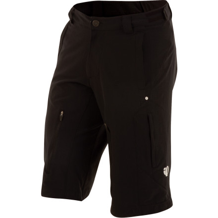 MTB The longest in Pearl Izumi's line of mountain bike shorts, Launch Shorts are tough enough to handle season after season of serious lift-access downhill terrain, cool enough for up-and-down all-mountain sorties, and stylish enough for post-ride pub crawls. Launch shorts are made with a durable, stretchy nylon ripstop shell and ample thigh venting, and come with a removable 3D Tour Chamois to take the edge off the toughest days of riding.Pearl Izumi Launch Shorts have a long, 15 inch inseam to fit nicely over your knee pads, so no one will mistake you for a roadie. Four-way stretch ripstop nylon makes up the bulk of the body. This durable fabric won't bind while you ride and breathes well to keep you dry and comfortable. Huge, 10-inch zippered vents on the front of the thighs keep cooling air flowing through your Launch shorts, and a waist adjustment on the back ensures a perfect fit, whether you're riding before lunch or after. The included 3D Tour chamois pulls moisture away from your skin to prevent chafing and irritation and to allow your body to regulate its temperature naturally. The chamois also provides padding to make long hours of singletrack feel pretty darn comfortable. Unlike many riding shorts, the Launch short's chamois liner is removable. This has several benefits. One is that you can adjust the fit and look that you want because the short and chamois are separate. You can also wear the short without the chamois liner as just a casual short, or the chamois with another short if your Launch shorts are dirty. Pearl Izumi Launch Shorts are available in sizes S through XXL and come in Grey Scrib Camo, Electric Blue, or Black. - $124.95