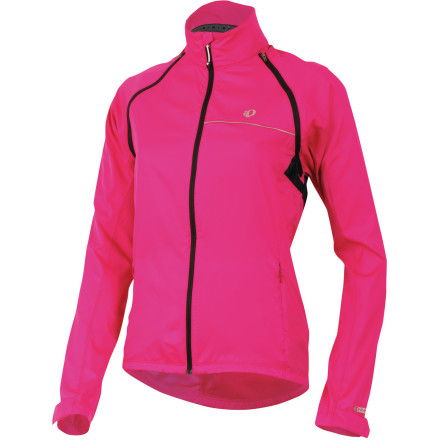 Fitness When inclement weather is on the horizon, slide into the versatile Pearl Izumi Elite Barrier Convertible Women's Jacket. With its removable sleeves, you can adjust to the conditions on hand, in real-time. However, don't think that zip-off sleeves are the extent of this jacket's weather-resistance. Pearl Izumi's ELITE Barrier fabric sheds wind, while providing light water-resistance for coverage during summer storms. And when the weather breaks, removing the sleeves and stashing them in the back pocket makes for a logical solution to humid conditions. Additionally, Izumi incorporated its Direct-Vent panels in order to provide extra ventilation to the core. On the other end of the temperature spectrum, the inner collar's micromesh lining adds a soft and warm sensation to the neck when fully-zipped up. And speaking of zippers, the full-length zip features an internal draft flap and zipper garage that prevents cold wind from penetrating the jacket. Furthering this concept are adjustable hook-and-loop closures at the wrist, and a one-handed elastic draw cord at the waist. As a system, you'll find that the threat of cold intrusion is nearly eliminated. For ease of use, Pearl Izumi used a one-piece, integrated sleeve design that make removal, installation, and stowing the sleeves a simplified affair. The large rear pocket easily accepts the sleeves, and there are also two hand pockets available to house your essentials. And for increased visibility to motorists in low-light conditions, the jacket also features reflective accents throughout the construction. The Pearl Izumi Elite Barrier Convertible Women's Jacket is available in six sizes from X-Small to XX-Large and in the colors Berry, Black, Blackberry, Orchid, Paradise Pink, Samurai Plaid, Screaming Yellow, Scuba Blue, True Red, and White. - $109.95