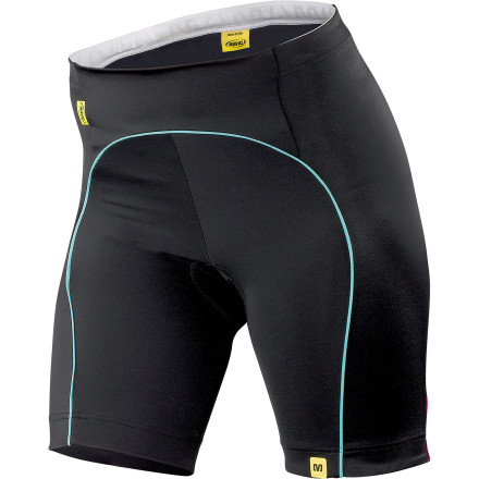 Fitness Mavic's Bellissima Women's Shorts provide the compressive fit and technical features that're required to ride with peak form. So, whether you're hitting base miles or suiting up for race day, the Bellissima will easily find its way to being your 'go-to.' Constructed from Mavic's Sleek Power fabric (a lightly structured, highly elastic blend of polyamide, elastane, and Lycra), the Bellissima effectively pulls perspiration away from the skin in order to keep you dry and comfortable. However, while wicking capabilities are an expected touch, Sleek Power is only starting to show its form. As a certified Power Lycra, this fabric features a higher-than-average fiber weight along with a dense knit. And as a result, the material provides a compressive support that alleviates the fatigue-inducing effects of road vibration and muscle oscillation. So, you'll be able to deliver more power to the pedals for a longer period of time. However, don't think that this benefit comes at the cost of sacrificed flexibility. In fact, Sleek Power has a better-than-normal stretch property that's been engineered into the material. So, you're able to pedal freely, and maneuver around your bike, without any pinching or discomfort. Of course, though, no pair of shorts are complete without a quality chamois. And in this application, Mavic opted for its Ergo 3D pad. It provides and anatomically correct support that's supplied by three different densities and six different thicknesses. A moisture wicking, low density, and open cell foam pulls perspiration away from the skin. Additionally, it has an antimicrobial treatment that combats bacteria, keeping both the insert and your skin clean and comfortable. This first layer is incredibly soft against the skin in order to prevent irritation, but for long-distance comfort, it uses two more higher density foams. Essentially, the reason for varying these sections is that your body doesn't require the same level of support throughout. - $149.90
