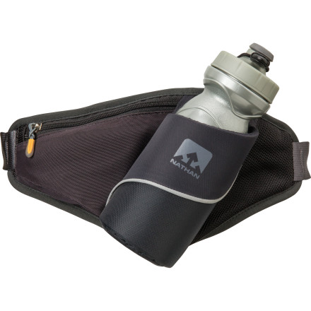 Camp and Hike Cinch the Nathan Triangle Hydration Lumbar Pack around your waist and set out for a run or a fast walk around town. The adjustable hip belt keeps this pack right in the small of your back, and the soft-sip water bottle is positioned at just the right angle so you can pull it out, drink, and slide it back into place without breaking your stride. Nathan even built in a small ID tab so you can keep your vital information where it's easy to find in the event of an emergency. - $29.95