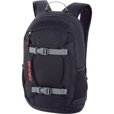 Camp and Hike The Dakine Alpine Backpack is a sleek, streamlined pack that will help you haul your gear without wasting time with gimmicks. Toss in your goggles, a bit of caloric refreshment, your safety gear, and something to wet your whistle. Then strap on your board, and you're ready to roll. - $24.98