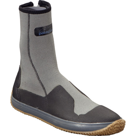 Camp and Hike Designed with shallow salt-water flats and sandy stream beds in mind, the Patagonia Men's Neoprene Flats Bootie is an ideal footwear choice before you head to the Keys in pursuit of tarpon and bonefish. The convenient zipper closure won't corrode in salt water, and the tough vulcanized rubber sole provides protection from sharp reefs and spiny sea urchins. - $89.00