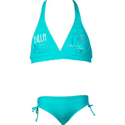 Surf With a secure halter top and amply cut tunnel bottom, you'll find a nice compromise between cute, girlish style and sport-oriented coverage in the Billabong Girls' Tia Swimsuit. Let her run amok in the sand and jump in the surf, for this surfer-girl suit stays put. - $35.96