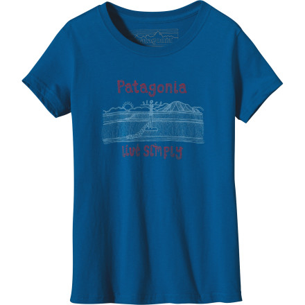 Camp and Hike The Patagonia Girls' Live Simply Bird Friend Short-Sleeve T-Shirt is soft and comfortable, so your girl can rock this top from family camping trips to school field trips. - $29.00