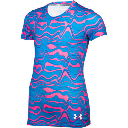 Fitness When you need a comfortable, cool, and lightweight performance tee to get you through soccer practice, dance class, or training, turn to the Under Armour Girls' HeatGear Sonic Printed Short-Sleeve T-Shirt. - $24.95