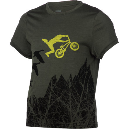 Bikes and sheep, who knew they had so much in common' Ok, maybe they don't have that much in common, but they're both involved in the making the Icebreaker Boys' Tech T Lite Flyer Shirt. - $34.95