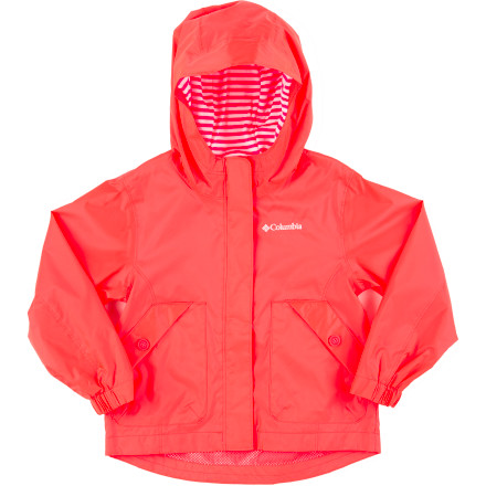Your tiny lady is going to play in the rain, and the Columbia Toddler Girls' Spring Dew Rain Jacket will keep her covered so she can splash in puddles and feel the rain on her face without getting soaked. - $33.71