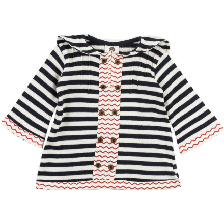 Your little pumpkin will look like she just came off the runway in the irresistible Kate Quinn Organics Infant Girls' Sweater Bell-Sleeve Swing Coat, with sophisticated style but a fun, funky attitude. Ample sleeves, a playful contrasting patterns, and sweet decorative coconut buttons combine for a unique coat fitting for an itty-bitty beauty. - $28.77