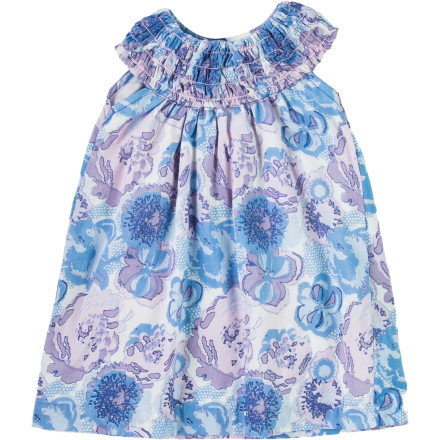 Entertainment Slide the Egg Infant Girls' Voile Halter Dress on your sweet pea when you have a family function or birthday party to attend. This precious little ensemble features spring-like graphics and smocked details along the neckline. - $39.95
