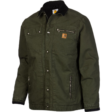 Hunting When the wind is whipping and your truck's windows are frosted over, pull on the Carhartt Men's Sandstone Quilt Lined Jacket before heading to the job site. The triple-stitched seams and cotton duck fabric supply work-worthy durability while the quilted lining traps precious body heat. Not to mention six pockets for all your daily gear. - $80.47
