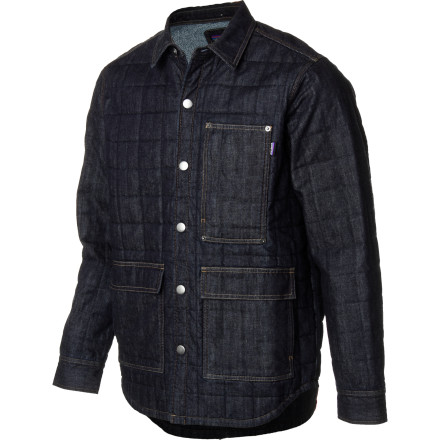 With its durable denim exterior, rivet reinforcements, and triple stitched seams, it's easy to see that the Patagonia Men's Hopper Jacket is built workingman tough. A healthy dose of Thermogreen synthetic insulation keeps you warm on cool nights spent tinkering in the garage and the organic cotton flannel lining ensures a high level of comfort. - $174.30