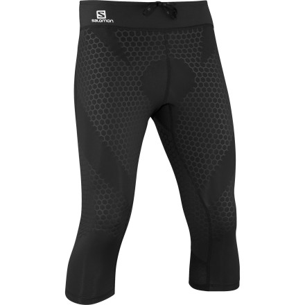 Fitness Cut down your recovery time and improve muscle support while you run with the Salomon Men's EXO 3/4-Tight. This close-fitting performance tight uses compressive Lycra fabric to support your muscles when you run on the road or the trail. Trickled down from Salomon's S-Lab apparel, this technology reduces muscle fatigue by cutting down on vibration while you run. Never a company to forget the details, Salomon used flat seam construction and a lightweight waist construction to complete the comfortable, no-chafe fit of this tight. - $114.95