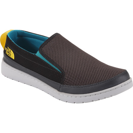 Camp and Hike From the bike ride across campus to summer slack line sessions in the park to base-camp lounging, turn to The North Face Men's Base Camp Slip-On III Shoe for the comfort and convenience of a sandle with full foot coverage. Breathable mesh uppers handle warm temps, and the egg-crate style EVA footbed supplies enough cushion and support to keep your foot happy during the longest days of summer. - $69.95