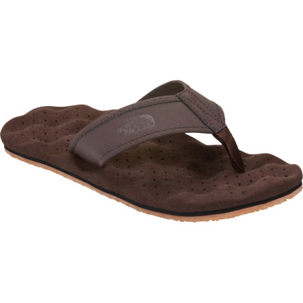 Camp and Hike On warm summer days, nothing beats the simplicity and comfort of The North Face Men's Base Camp Leather Flip-Flop. The microfiber footbed wicks away moisture to keep feet dry and comfy while the jersey-lined nubuck leather straps up the comfort level. - $49.95
