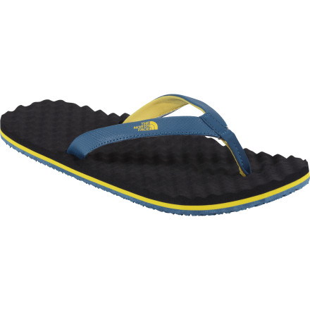 Ski With its egg-crate inspired footbed and durable PU-coated, 12mm, synthetic strap, The North Face Base Camp Slim Flip-Flop is just the thing to take your feet back to Pleasuretown after a long day on the trail or in ski boots. - $27.95