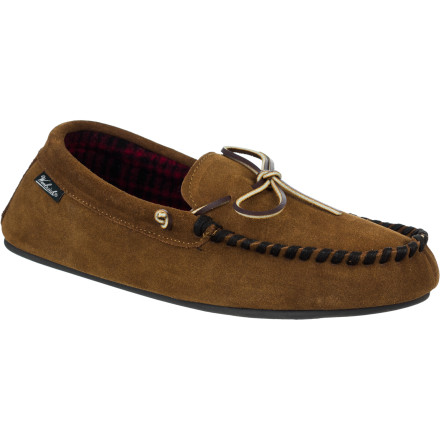 Lightweight, warm, and comfy, the Woolrich Men's Kirkwood Slipper combines the quality and feel of genuine suede upper, plush fleece lining, and a quiet and absorbant rubber sole. A rawhide lace gives you a fine fit, and for easy everyday wear, it wipes clean with a damp cloth. - $37.49