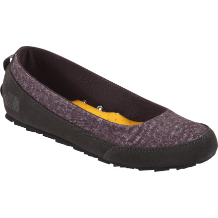 Camp and Hike When cute and comfortable are your priority, slip on The North Face Women's Base Camp Ballet Luxe Shoes. These classic ballet flats feature super soft chambray cotton uppers, shock-absorbing EVA midsoles, and cushioning Plus Foam footbeds with moisture wicking covers. - $64.95