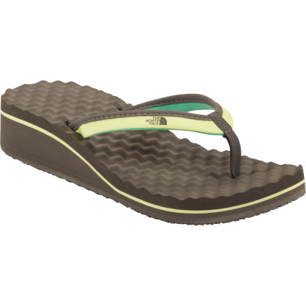 Camp and Hike Slip on The North Face Women's Base Camp Wedge II Flip-Flop and give yourself a little extra height without compromising relaxed summer comfort. The jersey-lined strap feels super soft against your skin, and the egg-crate inspired EVA footbed ensures all-day comfort. - $34.95