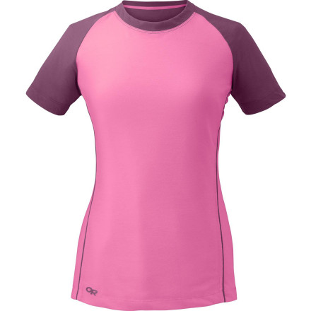 Camp and Hike Use the super-soft Outdoor Research Women's Essence Duo Short-Sleeve T-Shirt when you require lightweight comfort and high-tech performance during your hike, trail run, or mountain bike ride. - $48.95