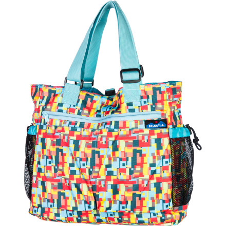 Entertainment The KAVU Happy Hauler Tote helps you get around by dependably hauling your books, gym clothes, baby gear, and pretty much anything else you can fit inside its roomy, sturdy pockets. Load this versatile, no-nonsense bag for beach outings or picnic lunches. It will get you and your necessaries where you're going. - $39.95