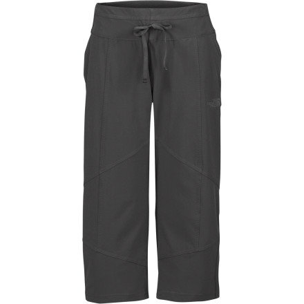 Camp and Hike The North Face Women's Out The Door Capri Pant provides lightweight softshell protection in an easy-layering cropped silhouette. With light weather-resistance and comfort-oriented drawcord waist and ribbing at waist and yoke, this pant serves up performance in a fine fit. Pull it on for a hike or run in crisp weather or to cheer for your favorite team when the skies look dark. - $69.95