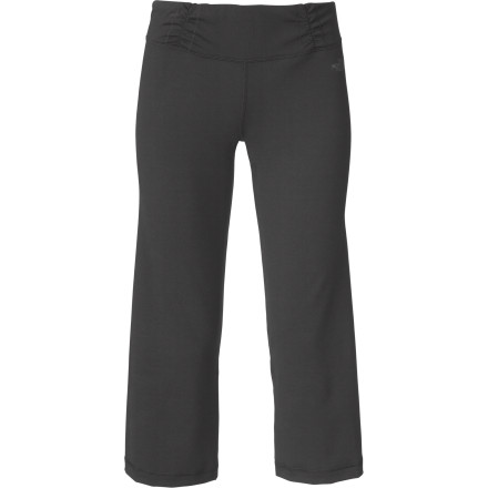 Fitness The North Face Women's Tadasana VPR Capri Pant boasts a soft, stretchy, eco-conscious fabric that encourages yoga practice from first salutation to final savasana. A wide waistband won't dig into your tummy as you work through poses, and a supportive fit allows optimal movement. Wrapped seams and a ruched waistband flatter your figure, so you look great in any position. - $64.95