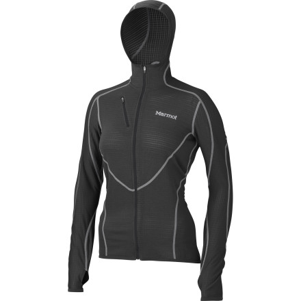 Climbing If you're planning on high-intensity physical activity, and the weather is planning on being freezing cold, zip up in the Marmot Women's Thermo Fleece Hooded Jacket. Toasty Polartec Power Dry deals with moisture so even if you work up a good sweat, you won't feel cold and clammy, making this jacket is ideal for touring, cold weather climbing days, and even winter running sessions. - $134.95