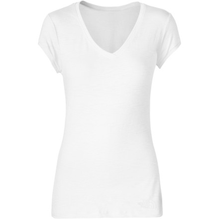 A simple, stretchy versatile top is a must-have for any action-oriented woman, and The North Face Women's Slub Top features a longer length and flattering ruching and V-neck for a great look that always feels good. Breathable, easy-care Pima cotton slub soothes your soul and allows easy layering for year-round comfort. - $39.95