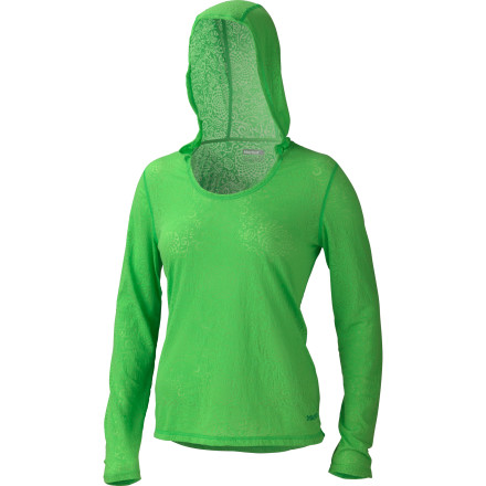 Camp and Hike The Marmot Women's Mia Burnout Hooded Long-Sleeve Shirt has a lighthearted, wear-anywhere vibe that is perfect for casual wine nights with friends or even weekend camping trips with the family. The soft fabric and comfort seams are all designed to help you feel your best, no matter what you're doing. - $47.95
