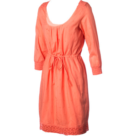 Entertainment The soft, smooth all-cotton voile Gramicci Women's Floret Dress feels like a dream and elicits summery romance with details like smocking at the neck and sleeves and an eyelet hem. An elastic drawstring waistband provides a comfortable everyday fit and added feminine style. With long sleeves and versatile coverage, you can wear this beauty with tall boots in cool weather and strappy sandals when temps rise. - $67.95