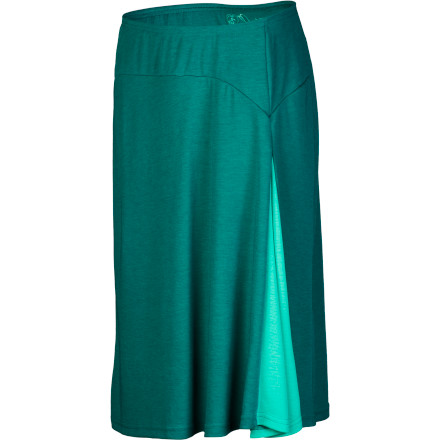 The smooth, sophisticated K 1/4hl Women's Prima Skirt provides plenty of stylish and versatile coverage with its below-knee length and ultralight feel, but it also delivers high-tech wrinkle- and wind-resistance, UPF 30, and an anti-static finish. A waffle-texture back face and front gusset adds comfort and mobility, while a security pocket makes it the perfect travel companion. - $57.95