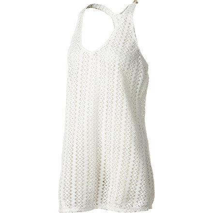 Surf The white-hot, super-cool Roxy Women's Internal Bliss Cover-Up provides sporty, sexy coverage at the beach or pool party. Made from all-cotton crochet, it feels like a featherweight dream and provides casual versatility. A racer back and V-neckline flatter every figure and allows freedom of mobility for that impromptu game beach badminton. - $52.00