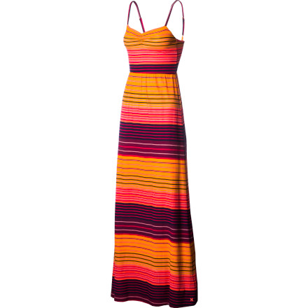 Entertainment After a relaxing day at the beach, get ready for a delicious seafood dinner when you pull on the Hurley Women's Karma Dress. This fitted maxi-style dress comfortably accentuates your curves and feels lightweight against your skin as you walk with the rest of the family to the restaurant. - $49.45