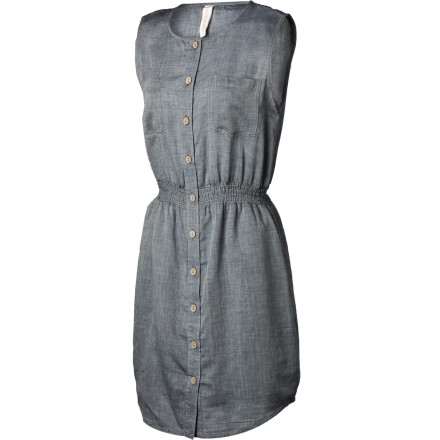 Entertainment The simply styled Gramicci Women's Bloom Dress offers plenty of flattering shape and great looks with practical feel-good comfort. Made from super-soft protein-washed yarn-dye organic cotton slub chambray, this dress breathes and soothes the skin. Front button placket,shaped shirttail, and pockets add casual sporty style; a smocked waist and scoop neck flatter every figure. Pair it with tights and boots or strappy sandals for versatility galore. - $74.95