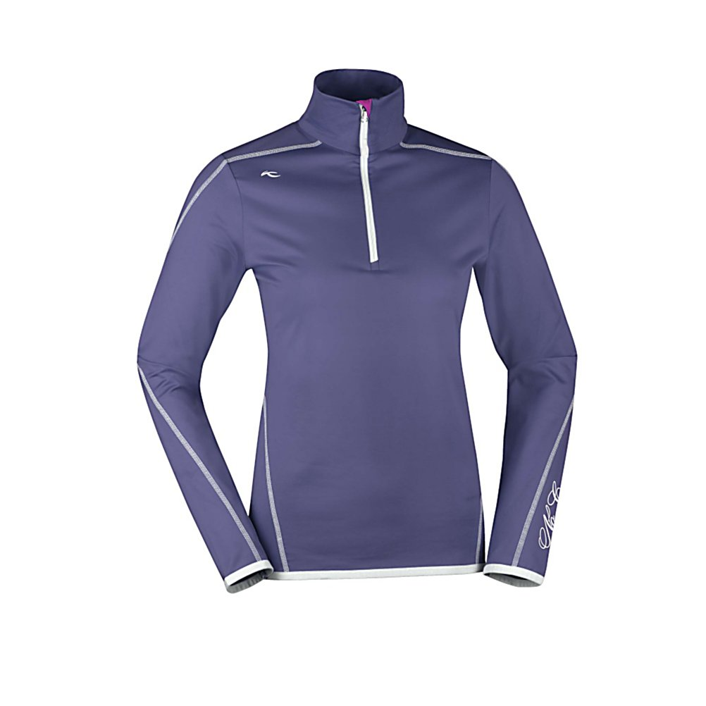 Ski KJUS Targa Half Zip Womens Mid Layer - The Kjus Targa Half Zip Mid Layer is like putting on a silky-soft blanket next to your skin for warmth and comfort all day. Kjus uses the softest Lycra fabric and brushes the interior so that you get a toasty and cozy embrace against your upper body where you want the most warmth. The Targa Half Zip is made with synthetic materials - as it will breathe and wick moisture well, and it has an anti-bacterial finish to keep you fresh even after multi-day wear. This light mid-layer has a decorative K-logo and flatlock seams to finish off the quality and performance that you have been accustomed to with all Kjus collections. Features: Smooth exterior, brushed interior. Material: Polyester/Spandex, Warranty: Lifetime, Battery Heated: No, Wind Protection: No, Material: Synthetic, Wicking Properties: Yes, Sleeve Type: Long Sleeve, Water Resistant: No, Model Year: 2013, Product ID: 309283, Model Number: LS25-504.36800 XS, GTIN: 7612997324873, Pockets: None, Type: Turtlenecks and Layering, Closure Type: Partial Zip Top, Hood: No, Category: Mid-Weight - $89.99