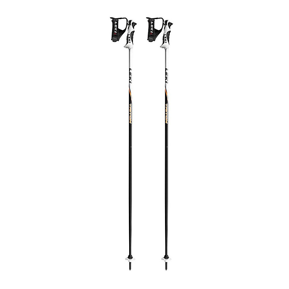Ski Leki Triton S Ski Poles - Lightweight and designed with solid aluminum, the Leki Triton S Ski Poles are strong and reliable in a variety of conditions. Its aluminum shaft keeps the pole at a light weight and won't suffer any damage if it goes flying from their fingertips. That shouldn't be an issue though because these poles are equipped with a Trigger Shark strap. Simple handling and fast adjustments these straps will also provide you with the perfect, precise fit for optimal control and power transfer. The baskets at the bottom of the Leki Triton S Ski Poles motion 360 degree providing versatility in all types of winter conditions. . Warranty: One Year, Gender: Mens, Race: No, Basket Type: Both, Shaft Material: Aluminum, Model Year: 2012, Product ID: 248809 - $69.95