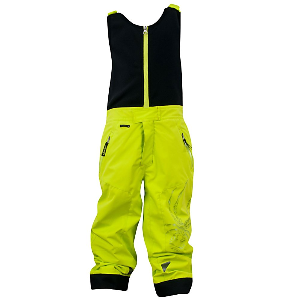 Ski Spyder Mini Avenger Toddlers Ski Pants (Previous Season) - The highest performance pant in the Spyder's Quest Line, the Mini Avenger Ski pant is nothing less than amazing. This chromed out moto look with welding details, silver Bemis overlay and logoing is all a new spin on a classic look. Bemis adhesive films bond various materials together in order to create low profile, waterproof seams. When your little ripper begins to grow do not worry, Small to Tall grow feature allows sleeves to extend an additional 2 inch when stitch is released. For the days that are frigid and windy your child will have the added protection of 80 grams of insulation. With this Mini Avenger Ski pant by Spyder you'll be giving your little skier a waterproof, breathable, durable and warm pant that also boasts style and comfort. . Exterior Material: Stretch Polyester Plain Weave Xt.L and Spylon with DWR, Insulation Weight: 80g, Taped Seams: Critically Taped, Waterproof Rating: 10,000mm, Breathability Rating: 10,000g, Full Zip Sides: No, Thigh Zip Venting: Yes, Suspenders: Bibs, Articulated Knee: No, Warranty: Lifetime, Race: No, Waterproof: Mild Waterproofing (5,001 - 10,000mm), Breathability: Mild Breathability (5,001 - 10,000g), Use: Ski, Type: Insulated, Pant Fit: Regular, Lining Material: Nylon Taffeta, Waist: Elastic, Pockets: 1-2, Model Year: 2013, Product ID: 309812, Model Number: 125302 327 5, GTIN: 0886311132193 - $79.89